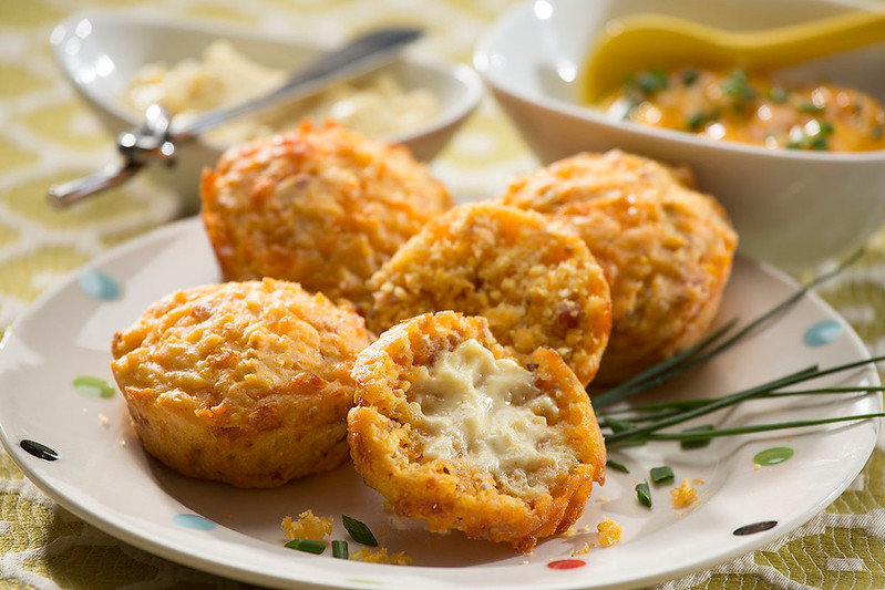 Bacon Cheddar Muffins with Maple Butter