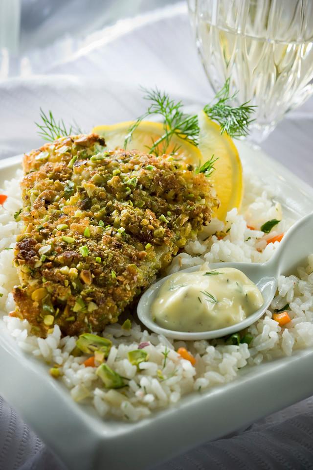 Dry Mustard Pistachio crusted Cod Fish
