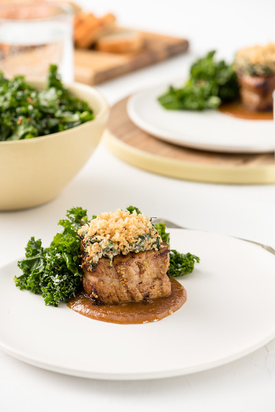 Mustard, Greens & Parmesan Crusted Pork Medallions with Mustard-Ale Sweet Onion Sauce