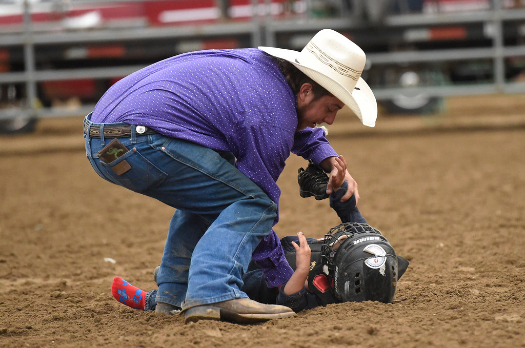 . Volunteer Dustin Rogers helps a child up after being bucked off a sheep during the Mutton Busting event on Thursday at the Boulder County Fairgrounds in Longmont. For more photos of the event go to dailycamera.com Jeremy Papasso/ Staff Photographer/ Aug 3, 2017