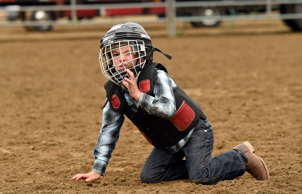 . A child reacts after falling off a sheep during the Mutton Busting event on Thursday at the Boulder County Fairgrounds in Longmont. For more photos of the event go to dailycamera.com Jeremy Papasso/ Staff Photographer/ Aug 3, 2017