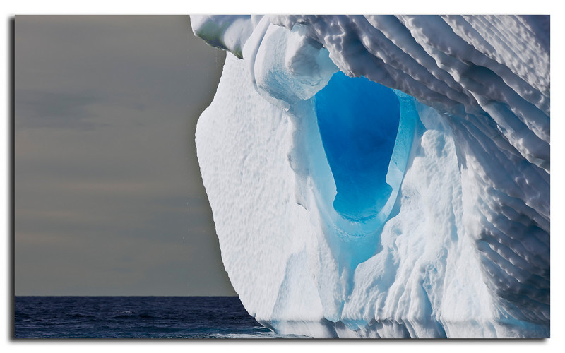 68. Water has created a large tunnel when this iceberg was part of Inlandic Ice.