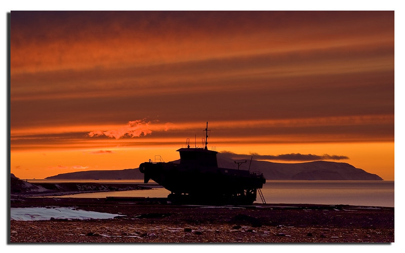 42. Tug-boat, Sunset and Wolstenholme Island.