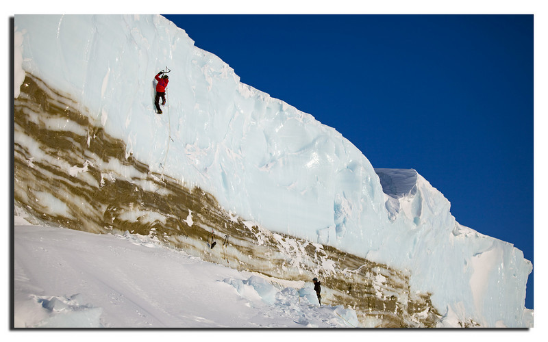 "106.The mad guys ""Icemonkeys"" climbing at the Landglacier.........Jesper & Jacob."