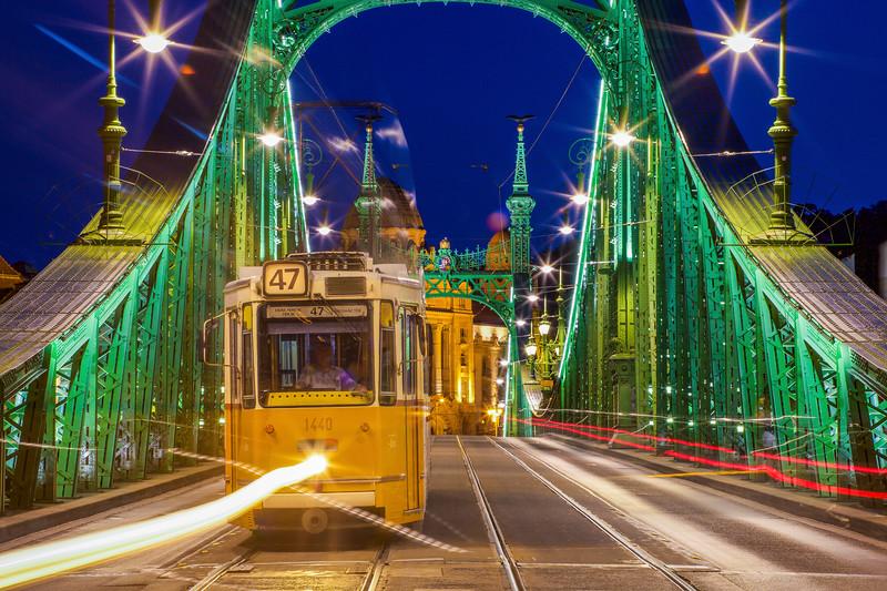 #47 Tram At Liberty Bridge, Budapest