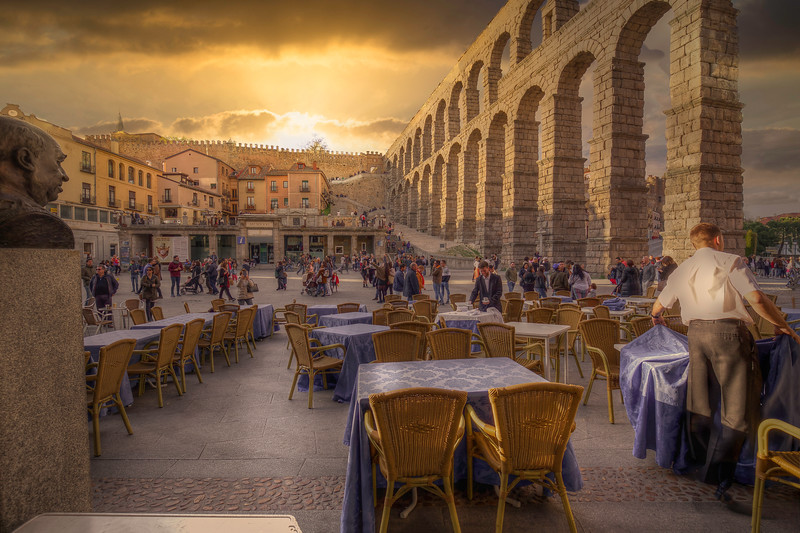 Sunset At Cafe, Roman Aqueduct, Segovia Spain