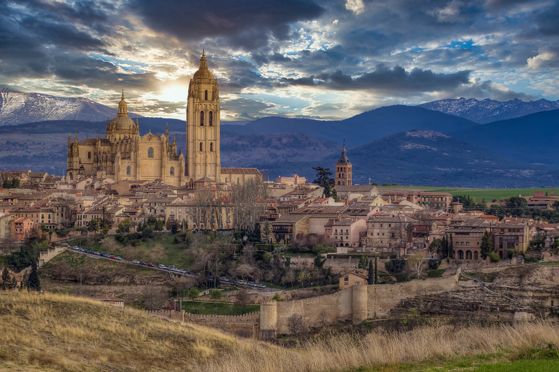 Segovia Spain With Mountains, Segovia Spain