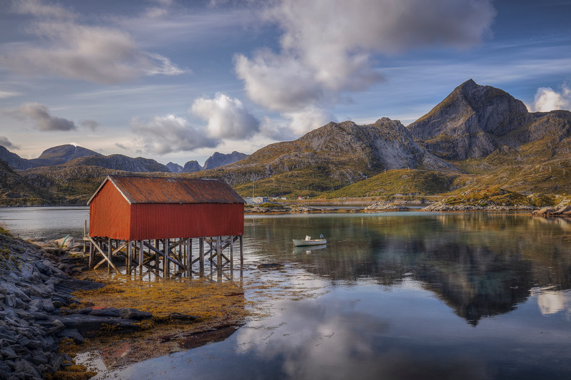 Stilt House Over Lake, Lofoten Norway
