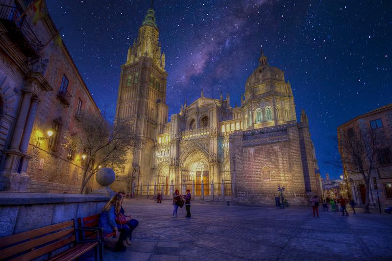 Santa Iglesia Cathedral  At Night, Toledo Spain