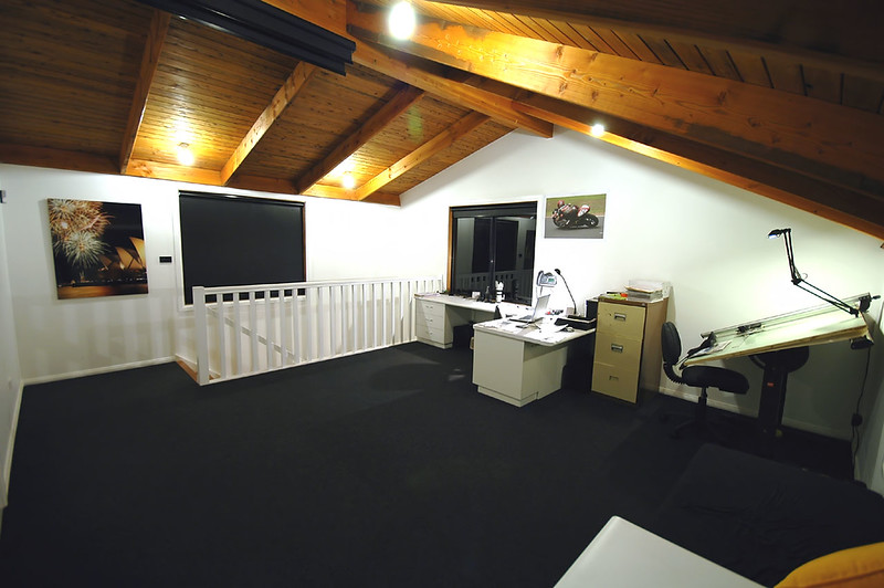 "Inside my office. This is the first floor of the ""Office, studio, garage""."