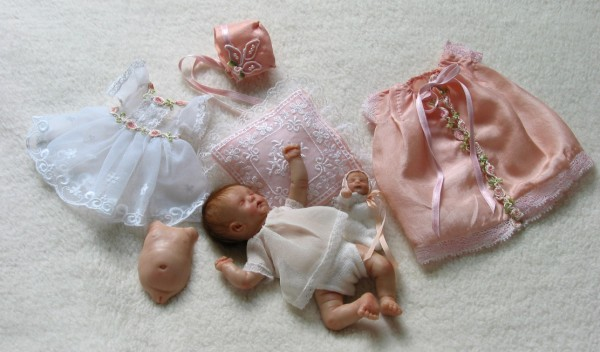 mini with her layette