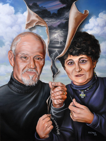"Title: ""Mending Time"" 2006 oil on Masonite 24""x32"" Portrait of My Parents Karl and Margo Franz. I was inspired by a rekindling of their love for each other after more than 30 years of marriage."
