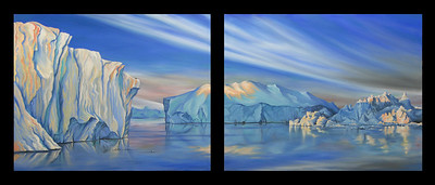 """Arctic Midnight"" - Landscape of the Jakobshaven Icefiord in Illulisat, Greenland. Oil painting on two 24x30 canvases hung side-by-side. July 2007 from photos taken in May 2007 Price $1200"
