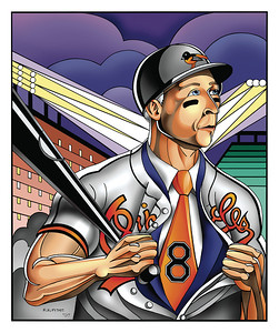 Pen and Photoshop illustration for a special publication on Cal Ripkin Jr. and his conversion from Ironman  baseball player to Businessman. July 2007 Maximilian Franz/The Daily Record