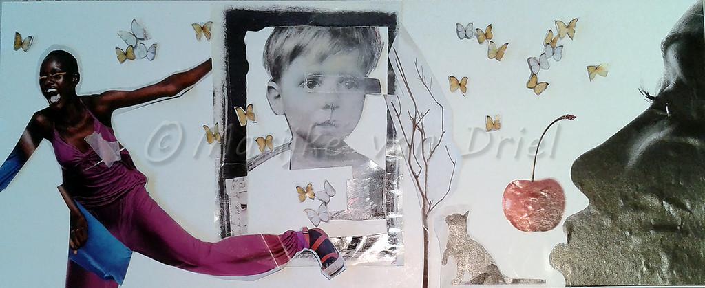 Collage in potlood naar Stefaan Serneels