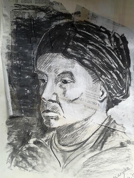 Portret met hoofddeksel naar model
