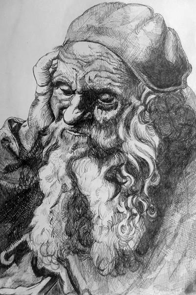 Portret naar een ets van Albrecht Dürer