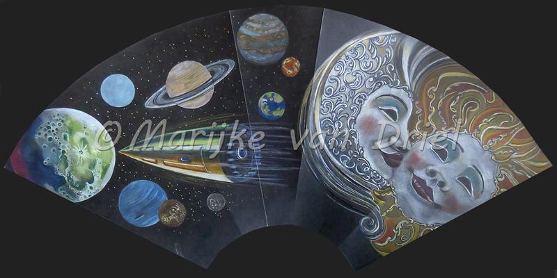 """3de kwart : Jules Vernes """"De la terre á la lune"""" - Venetiaanse maskers Maan & Zon"""