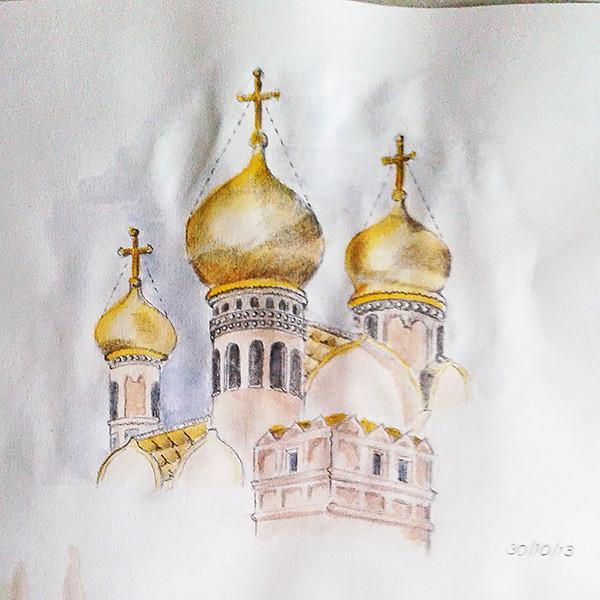 Moskou met aquarel op potlood (oefening)