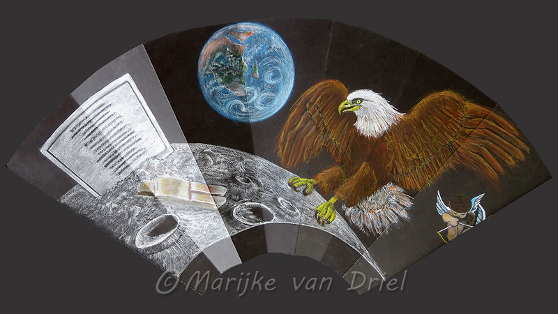 """1ste Kwart:  Kunst op de maan """"Fallen Astronauts"""" van Paul van Hoeydonck - 1ste Maanlanding Apollo 11 (Embleem: witkopzeearend)"""