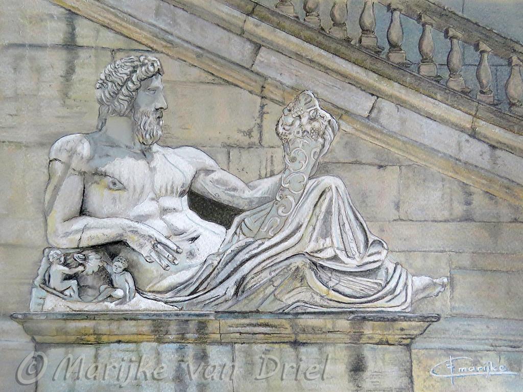 Rome - Fontano Piazzo del Campidoglio - Pastel A4