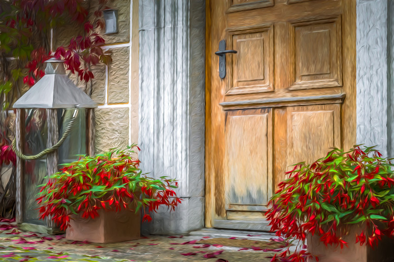 Red Flowers on the Porch