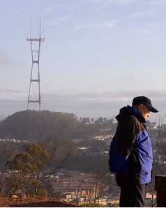 meditating in Sutro Tower's shadow