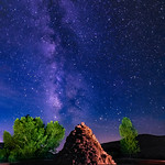 Mountain Meadow Monument Lightpainted Under the Milky Way (2020)