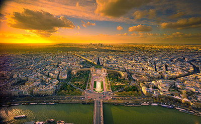 Top of the Eiffel Tower at Sunset
