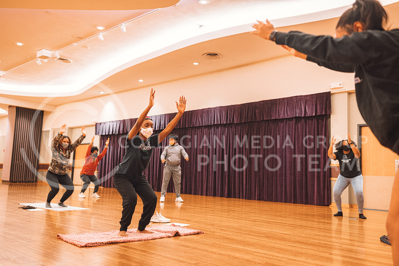 Kansas State University's Black Student Union presents My Black Is Beautiful event. Monday included a meditation session instructed my Melina Alferoff. Located in the Union Ballroom on Oct 26, 2020. (Dylan Connell | Collegian Media Group)