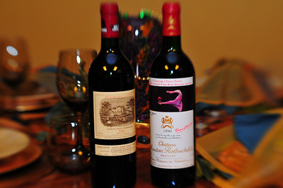 TASTY COUSINS INDEED!    Two of the finest wineries in the Bordeaux region of France, these guys are the Kingpins.  Bordeaux is arguably the best wine in the world.  (I like Napa, too) These beautiful bottles are Chateau Lafitte Rothschild and Chateau Mouton Rothschild, owned by cousins.  These wineries are two of the best in France.  Others are Chateau La Tour, Chateau Margaux, Chateau Haute-Brion, and Petrus.  Petrus is the only one that is not a first growth.  What I like about these wines is the smooth, velvety, and fruity, yet earthy way they taste on my tongue.  Lighter and less oaky than some Napa high ends, they are simply incredible.