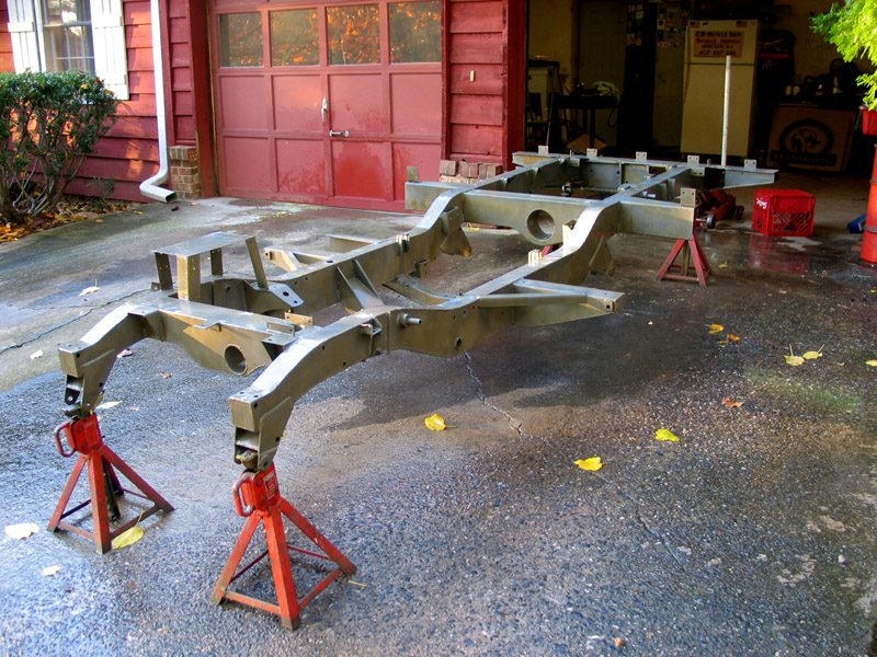 Starting the restoration of the 1967 SIIA pick-up - truly a frame up restoration. This is the perfect condition original frame freshly sandblasted and phosphated prior to application of POR15.
