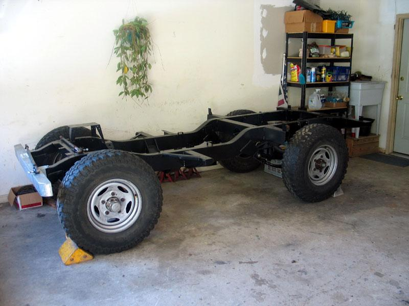 Rolling chassis for the 1967 Series IIA. The 255/85R16 BFG Mud T/A's may be a bit much.