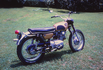 My first Motorcycle - Honda 305 Scrambler - I used to ride to school on this. I bought it from a friend of mine when he upgraded to a new Yamaha DT-1 in 1969. One of my fondest memories is roaring up the north beach on Jekyll Island at close to 100 miles an hour in the firm sand just below the tide line - and no we weren't supposed to be on the beach.
