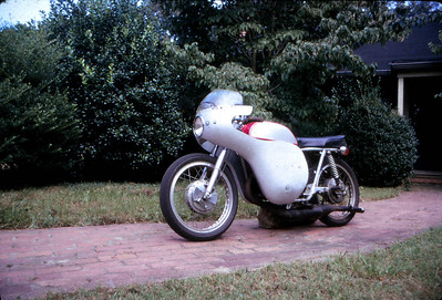 OSSA 230cc Wildfire street bike with the roadracing conversion. Weighed about 185 pounds and was capable of speeds of 112 MPH (according to the Chambers County police force who clocked me doing that on State Line Road a few miles north of Lanett, Alabama in 1974).