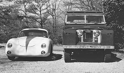 1956 Porsche 356 and 1966 Land Rover 109 wagon