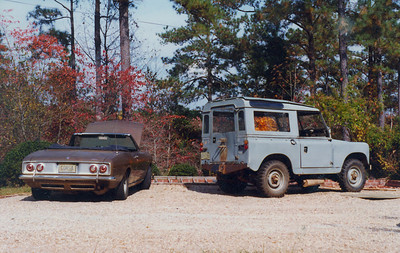 My 1965 Corvair Corsa Turbo convertible and 1961 Land Rover with a Ford V-8 stuffed in it.
