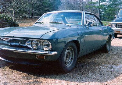 1966 Corvair Corsa coupe originally a 140 hp car I put the turbo motor in it after the convertible got T-boned by a driver who ran a stop sign.