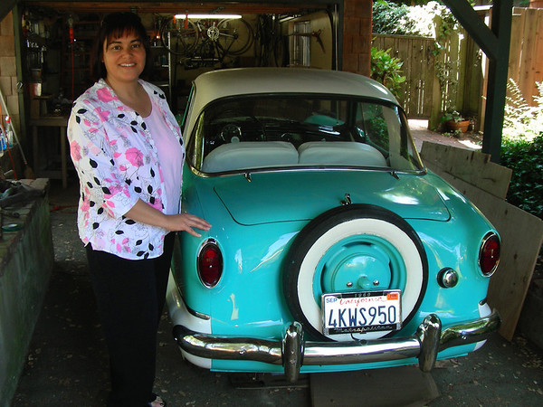 "Phyllis and her ""new"" fully restored 1960 Nash Metropolitan"