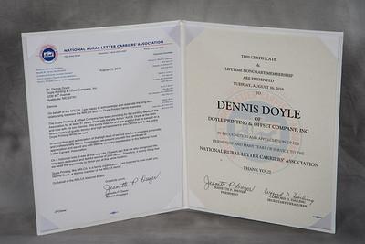 Lifetime Honorary Member Certificate - Dennis Doyle 142958