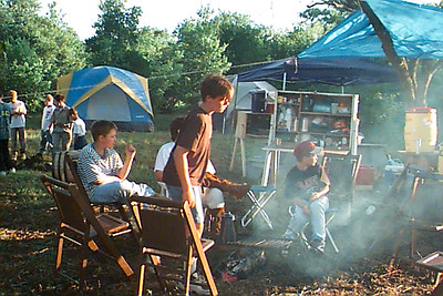 MIchael Marciniak and other First Assembly of God Granbury Royal Rangers during a campout at the North Texas District Royal Rangers camp.  1990s