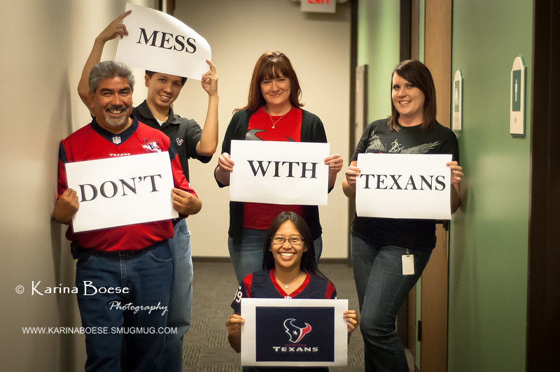 Don't Mess with Texans<br /> Fri. September 13, 2013 (day 362)<br /> <br /> Just posing with some cool kids at the office...