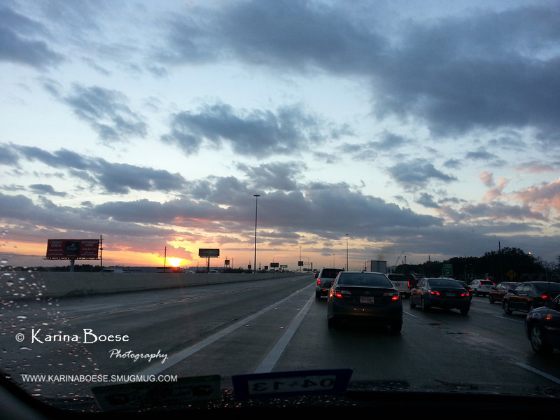 Through My Windshield Today<br /> Mon. February 4, 2013 (day 267)<br /> <br /> It is a rainy day in Houston but we got such a gorgeous sunset.  <br /> Yeah... that's a nice view in the middle of traffic jam!