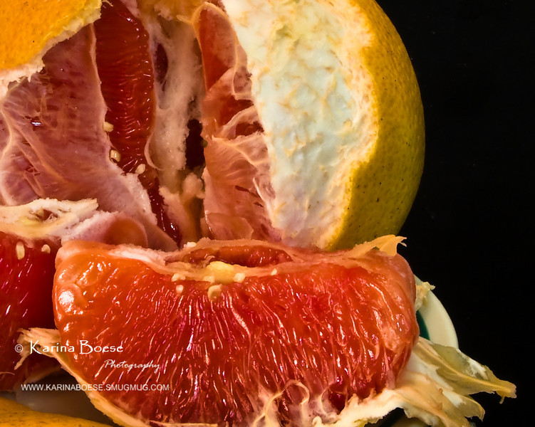 "Layers of Grapefruit Fri. March 13, 2009 (Day 332)  It's Friday the 13th!!!  Yaaay!    ""Healthy Camera Diet"" challenge day 5 of 7.   See <a href=""http://karinaboese.smugmug.com/gallery/4715409_6eWPG#488505940_UWQWk""> day 1</a> of 7.  Go to <a href=""http://karinaboese.smugmug.com/gallery/4880788_AxPNj#491427348_zFXyX""> Alternative</a> gallery to see the set up.  The lighting is pretty 'flat' on this shot, IMO- but it's time to enjoy the weekend.  Have a great weekend you!"