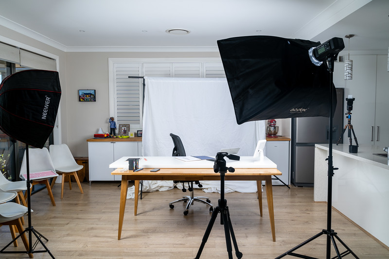Temp home studio for a headshot and product shoot