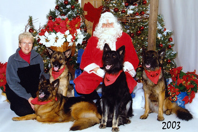 2006 - A more mature group.  Santa is not new to them....  Olivia, Ari, Kobie and Teddy
