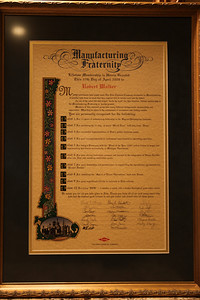 """Manufacturing Fraternity Lifetime Membership is Herin Granted This 27th Day of April 2009 to Robert Walker  Many individuals have helped make The Dow Chemical Company successful in Manufacturing. A handful have done so much that their imprint will be visible well into the future. As one of the select few who helped """"write the book"""" for this function, lifetime membership in the Manufacturing Fraternity is hereby granted. Members of this esteemed group have many different backgrounds, personalities and approaches. What they do share is the achievement of uncommon and lasting results.  You are personally recognized for the following:  1. For 11 years of unwavering leadership in the Stryenics/Polystyrene business 2. For surviving the 21 day, 18 plant """"World Tour"""" with help from """"Home"""" 3. For successful implementation of Dow's global business model 4. For your accomplishments in continuous improvement in operating capacities 5. For being a Visionary with the """"Plant of the Year 2000"""" before it was in vogue and implementing that vision successfully in Michigan Operations 6. For your strong leadership, passion and success in the integration of Union Carbide sites into Dow and exceeding established goals 7. For your leadership and perseverence in negotiating the operational agreements for """"Project Daulat"""" 8. For instilling the """"Spirit of Texas Operations"""" back in Texas 9. For your significant efforts in outreach to Dow retirees 10. For being """"BOB"""" ... a mentor, a coach, and a teacher throughout your entire career  We salute you for all you have givento Dow. Thank you from all of us (and many more) who have had the distinct good furtune to call you leader and friend for all these years.  Signed, (Many former and present Dow leaders)"""