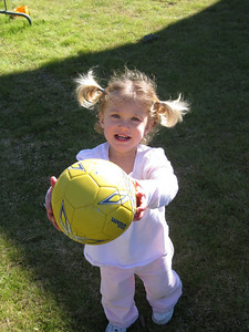 Emily ready to play soccer