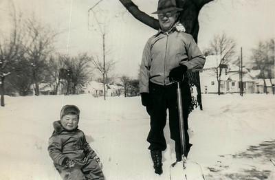 Helping Grandpa Daniels shovel snow