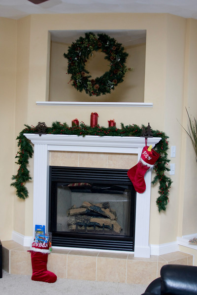 The fireplace with stockings ready to open! Mine was so full it couldn't even be hung!